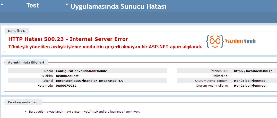 HTTP Hatası 500.23
