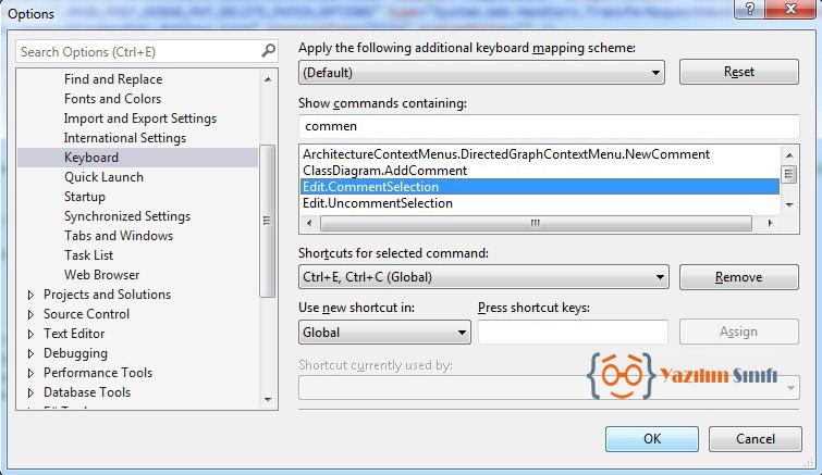 Visual Studio 2013 Yorum Satırı Kısayolunu Değiştirme